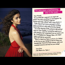 Alia Bhatt's inspiring message to youth for a happy life! - Pens an open letter in the wake of the World Television Premiere of her film, 'Dear Zindagi' on Zee Cinema