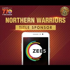 ZEE5 jumpstarts its global innings: Announces Title Sponsorship of the Northern Warriors in the second season of the T10 Cricket League