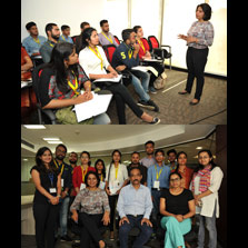 Students receive hands-on training in TV News Reporting during a Workshop conducted by Alokananda Sen Awasthi at ZIMA Noida
