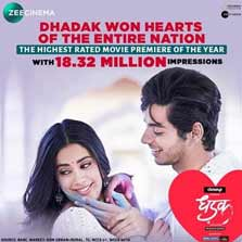 Dhadak on Zee Cinema is the Highest Rated Movie of 2018!