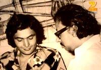 R.D. Burman With Rishi Kapoor on the sets of 'Khel Khel Mein'