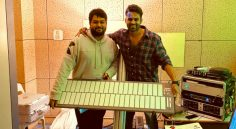 Sai Tej Gifted instrument to Thaman !