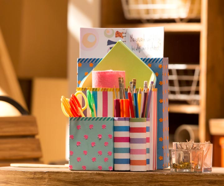 Cereal box stationery holder recycle a cereal box into a for Best out of waste step by step